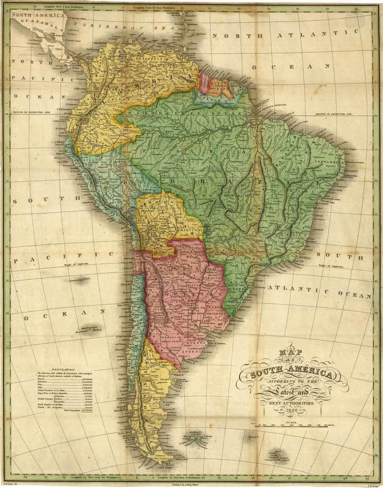 Historic Map - South America - 1826