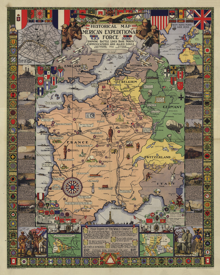 Historic Map - Europe - World War I - American Expeditionary Forces - 1932