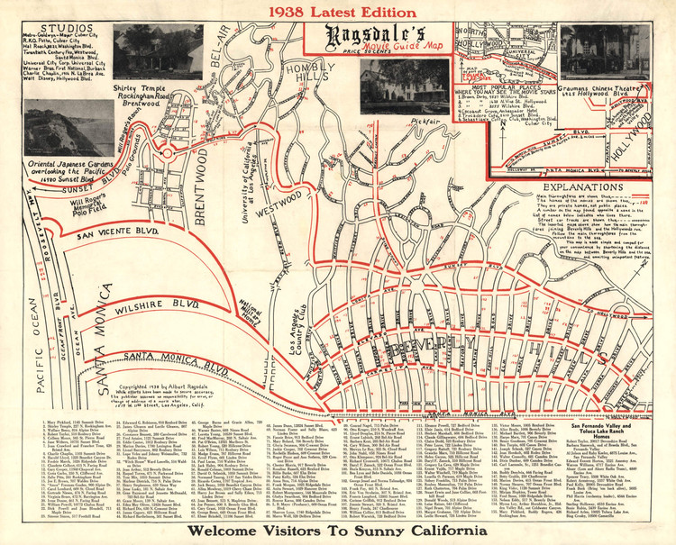 Historic Map - Beverly Hills, CA - Movie Guide - 1938