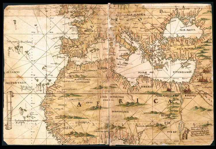 Historical Map of North Africa - General Atlas of All the Islands in the World - 1539