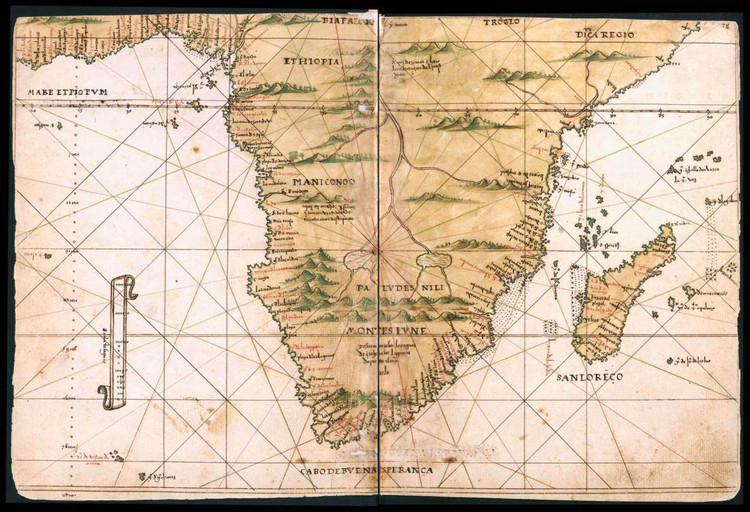 Historical Map of South Africa - General Atlas of All the Islands in the World - 1539