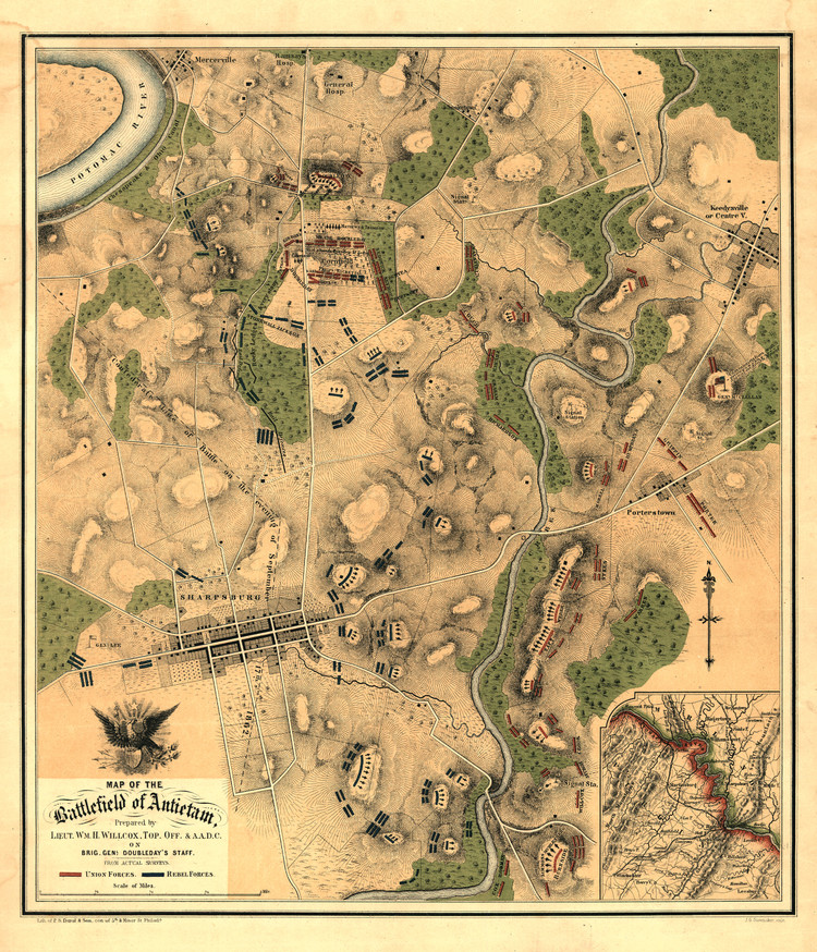 Historic Map - Sharpsburg, MD - Civil War - Battle of Antietam - 1862