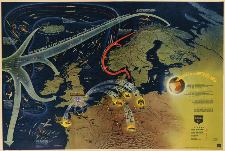 Historic Map - Europe - World War II - North Sea - 1944