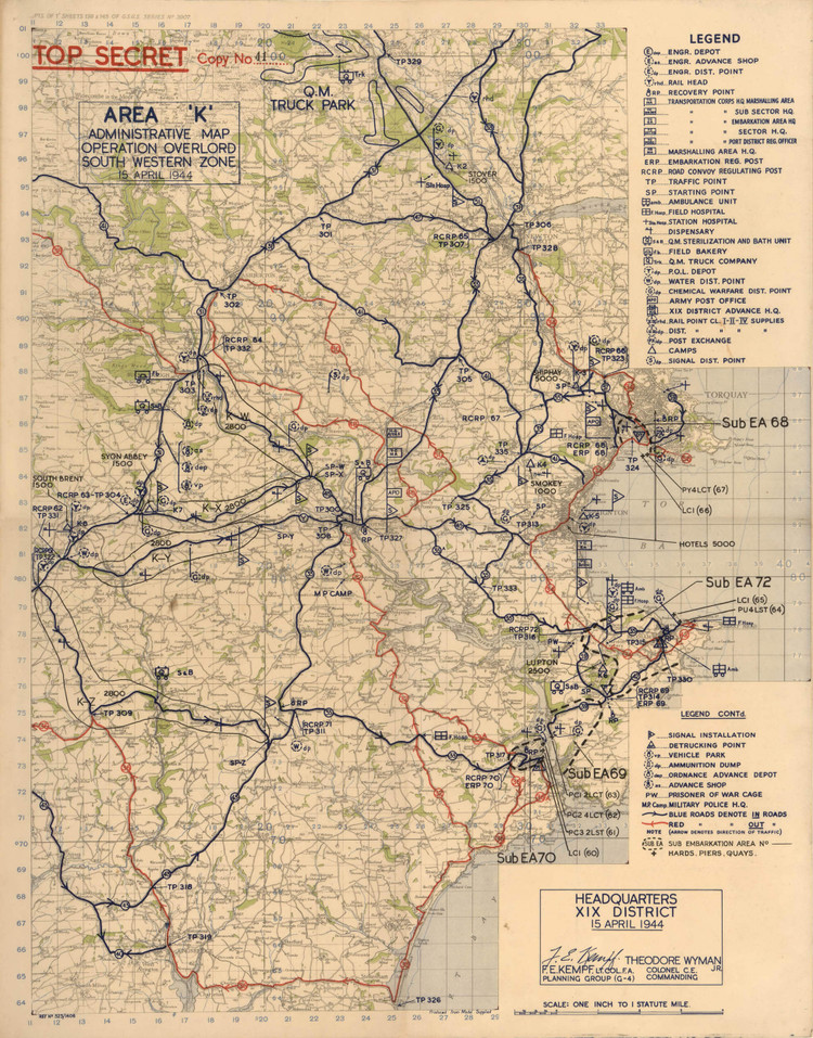 Historic Map - Devon, England - World War II - Operation Overlord - 1944
