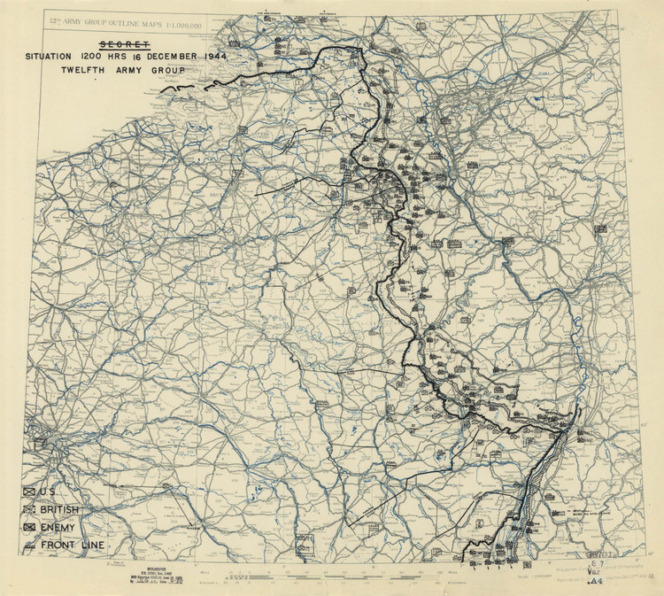 Historic Map - Wallonia, Belgium - World War II - Battle of the Bulge - 1944