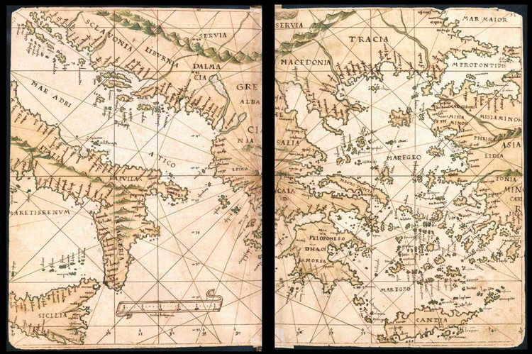 Historical Map of Greece & Asia - General Atlas of All the Islands in the World - 1539