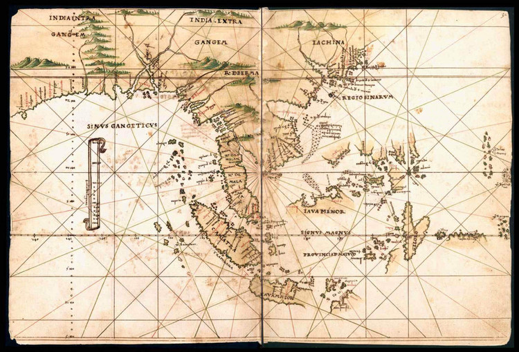 Historical Map of India & China - General Atlas of All the Islands in the World - 1539