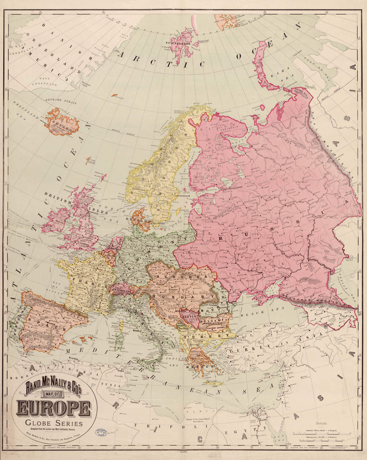 Historic Map - Europe - 1894