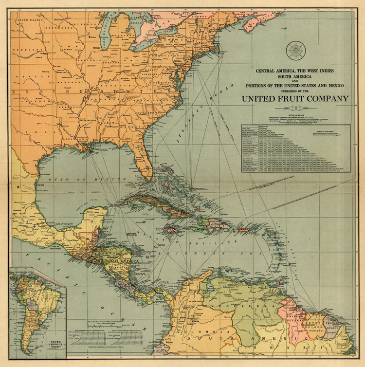 Historical Map of North & Central America - 1909