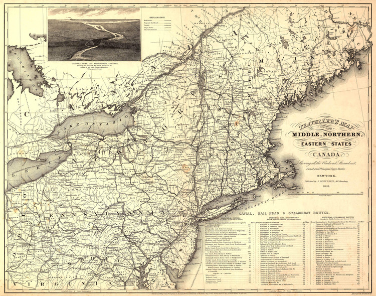 Historic Railroad Map of the Northeastern United States - 1849