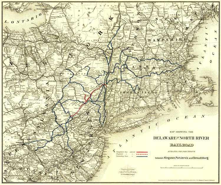 Historic Railroad Map of the Northeastern United States - 1890