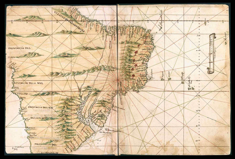 Historical Map of Brazil & Peru - General Atlas of All the Islands in the World - 1539