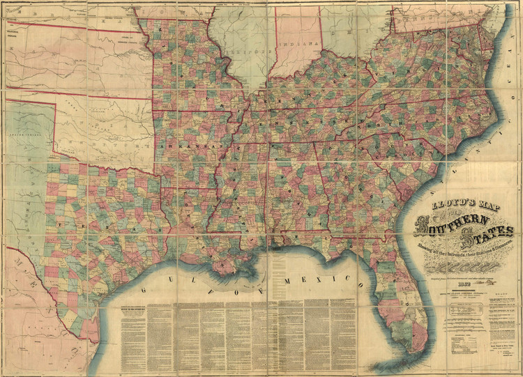Historic Railroad Map of the Southern United States - 1862