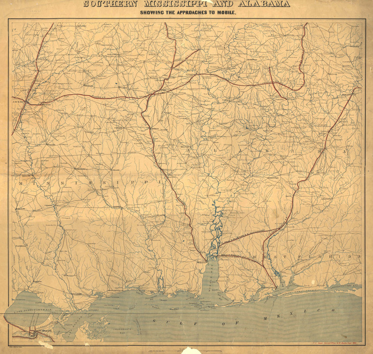 Historic Railroad Map of the Southern United States - 1863