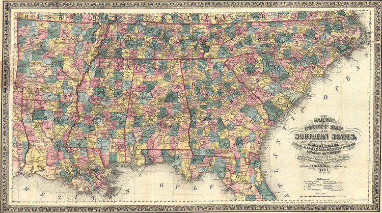 Historic Railroad Map of the Southern United States - 1864