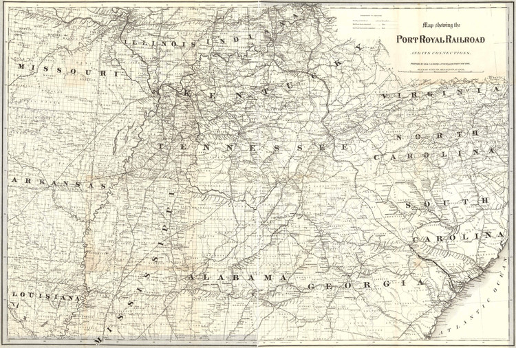 Historic Railroad Map of the Southern United States - 1870