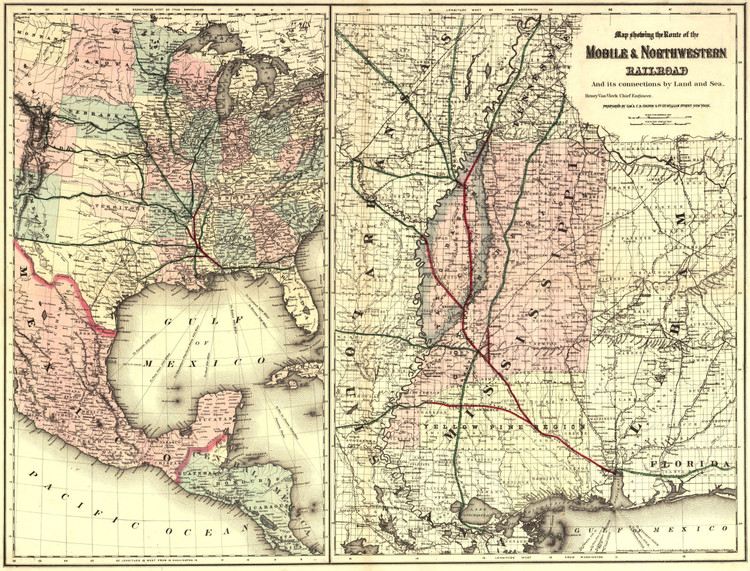 Historic Railroad Map of the Southern United States - 1871