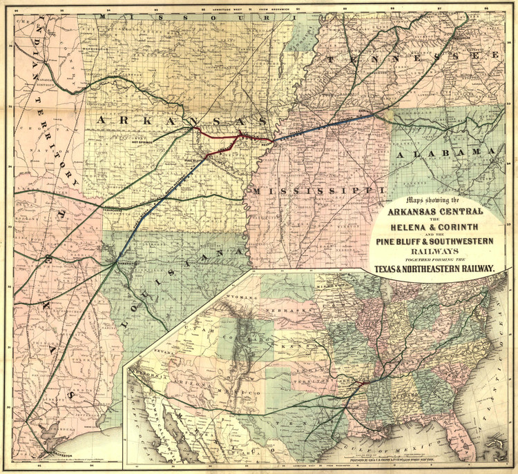 Historic Railroad Map of the Southern States - 1872
