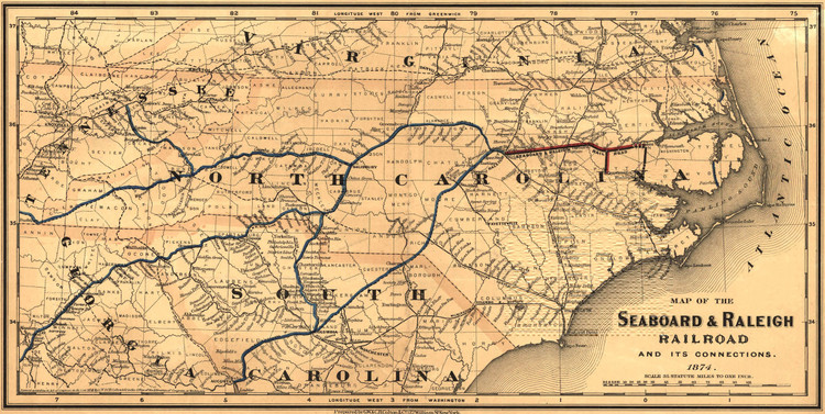 Historic Railroad Map of the Southern United States - 1874