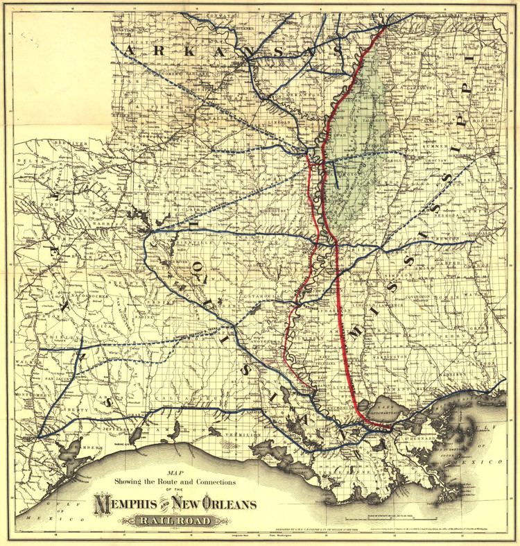 Historic Railroad Map of the Memphis and New Orleans Railroad - 1882