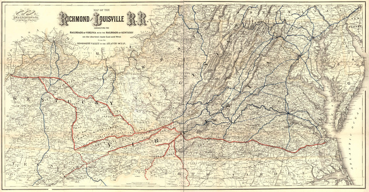 Historic Railroad Map of the Richmond and Louisville Railway - 1882