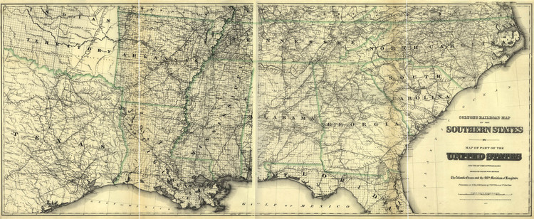 Historic Railroad Map of the Southern United States - 1883