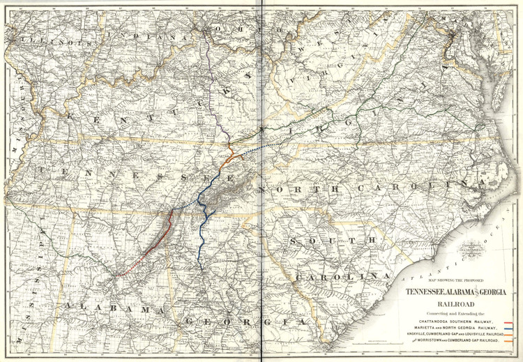 Historic Railroad Map of the Southern United States - 1892