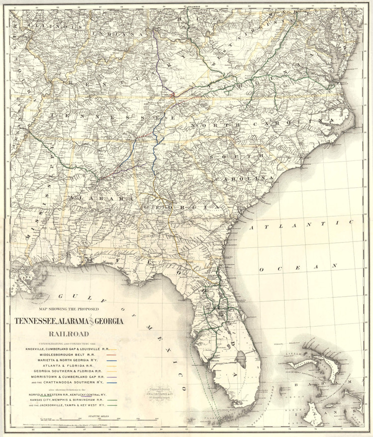 Historic Railroad Map of the Southern United States - 1893