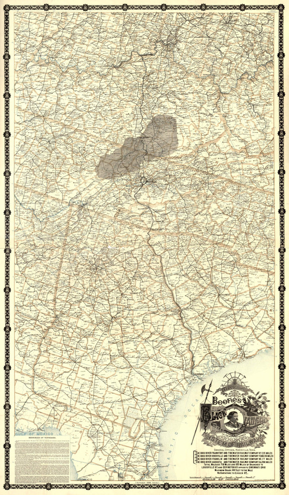 Historic Railroad Map of the Southern United States - 1896