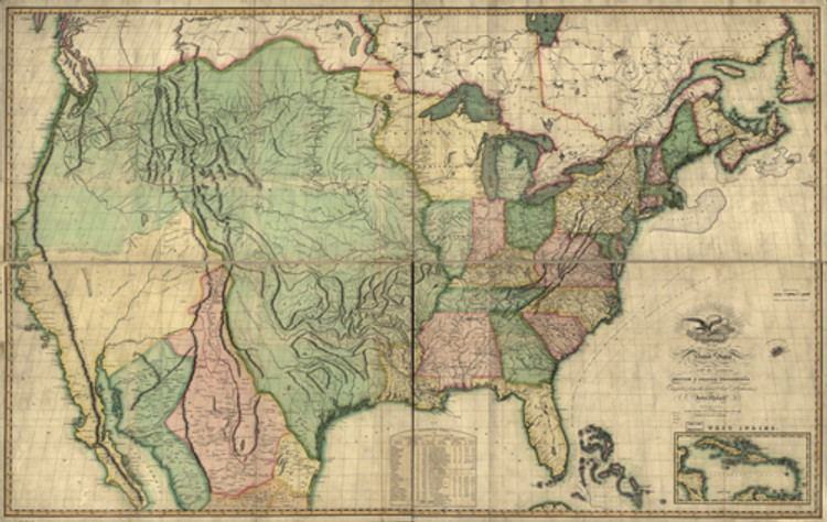 Historical Map of the United States - British & Spanish Possessions - 1816