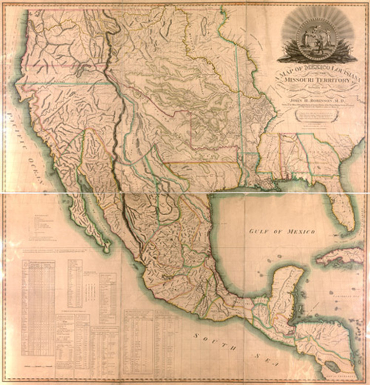 Historical Map of the United States and Mexico - 1819