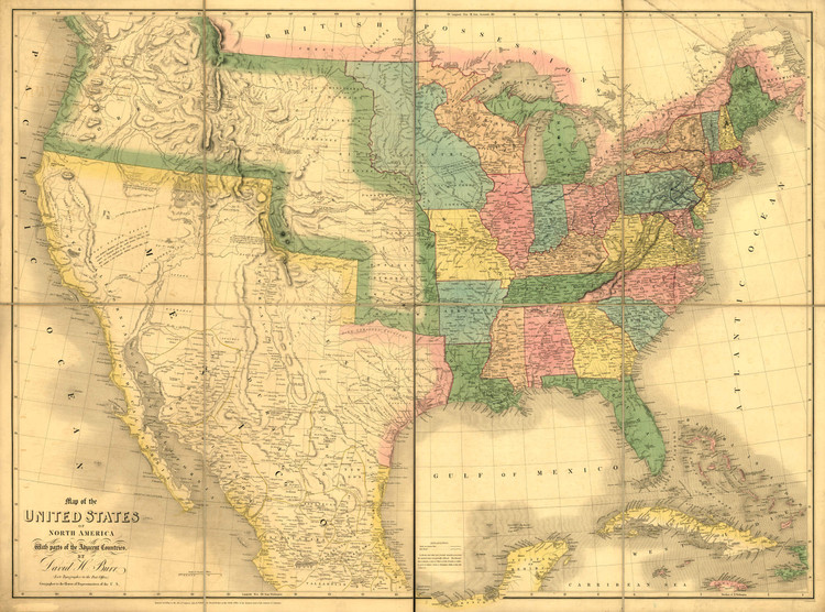 Historic Railroad Map of the United States - 1839
