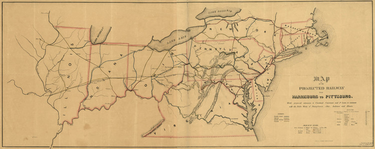 Historic Railroad Map of the Northeastern United States - 1840