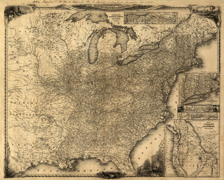 Historical Map of the United States - Map for Travelers - 1846