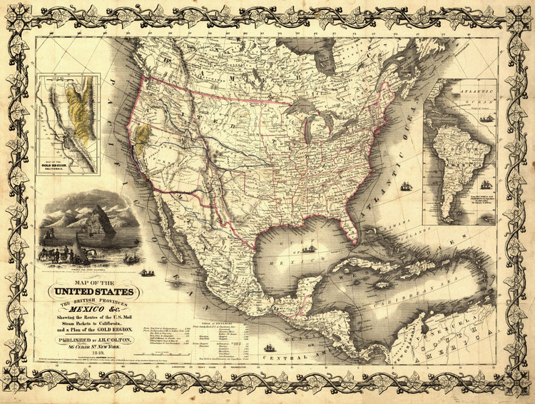 Historic Railroad Map of the United States - 1849