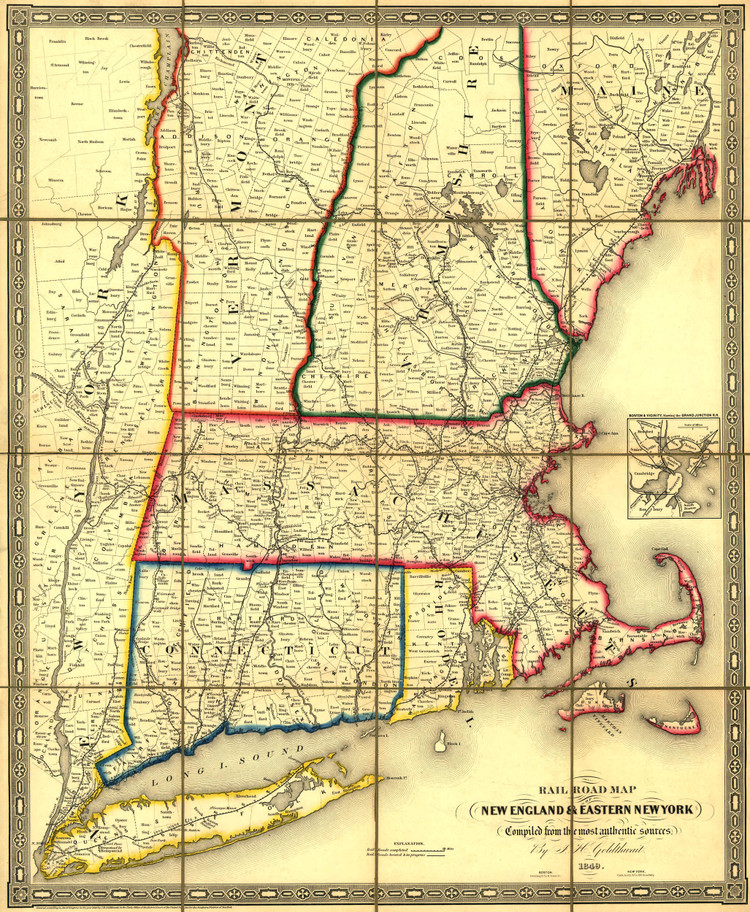 Historic Railroad Map of New England - 1849