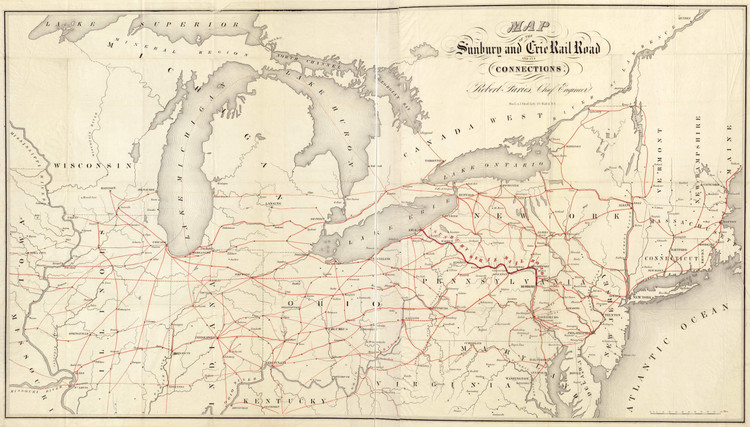 Historic Railroad Map of the Northeastern United States - 1850