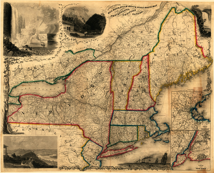 Historic Railroad Map of New England - 1850