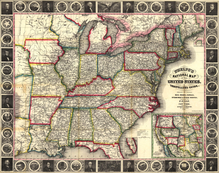 Historic Railroad Map of the United States - 1852
