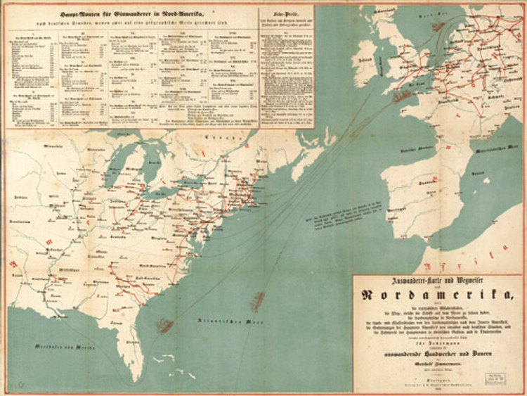 Historic Map - United States - Emigration from Europe to North America - 1853