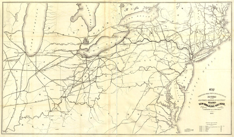 Historic Railroad Map of the Northeastern United States - 1853