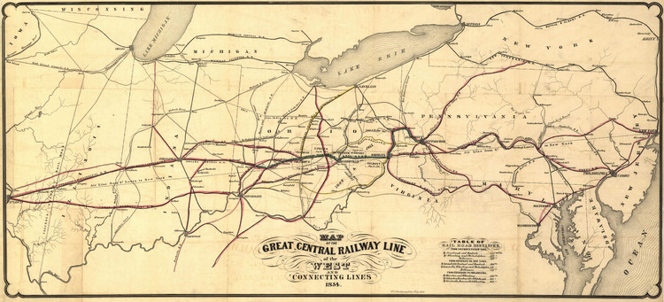 Historic Railroad Map of the North Central United States - 1854