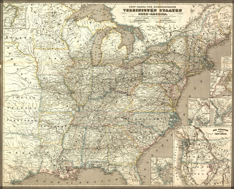 Historic Railroad Map of the United States - 1855