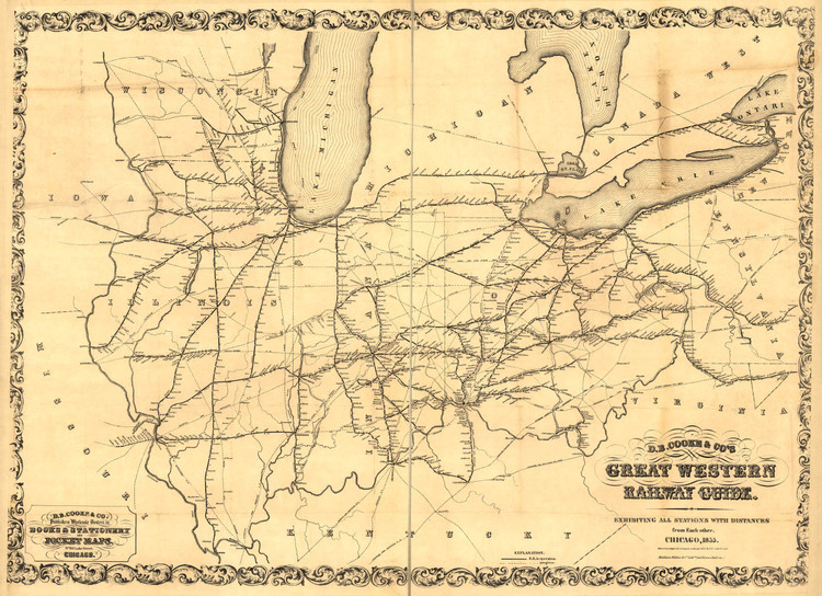 Historic Railroad Map of the Midwest - 1855