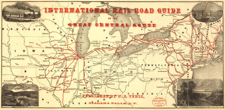 Historic Railroad Map of the Northeastern United States - 1855
