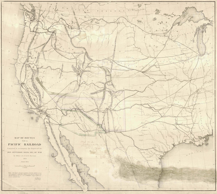 Historic Railroad Map of the Western United States - 1855
