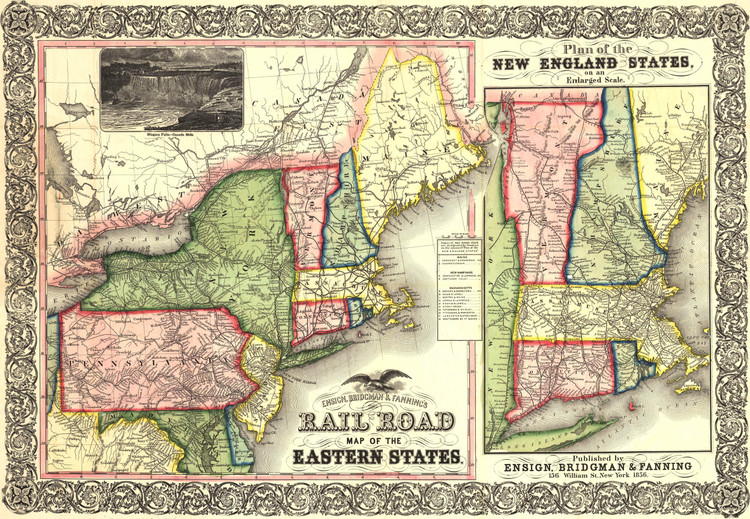 Historic Railroad Map of New England - 1856