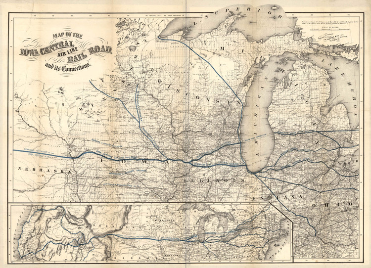 Historic Railroad Map of the Midwest - 1857