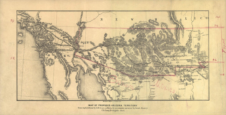 Historic Railroad Map of the Southwest United States - 1857