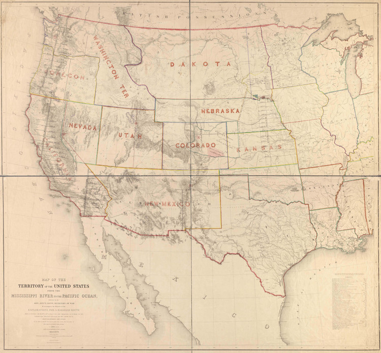 Historic Railroad Map of the Western United States - 1858